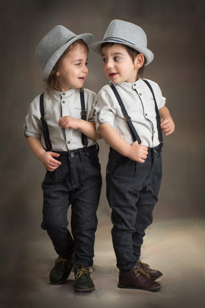 Calm, fun and relaxed in- studio upsherin photo session of twin boys in Brooklyn NY by Picadilly Studios