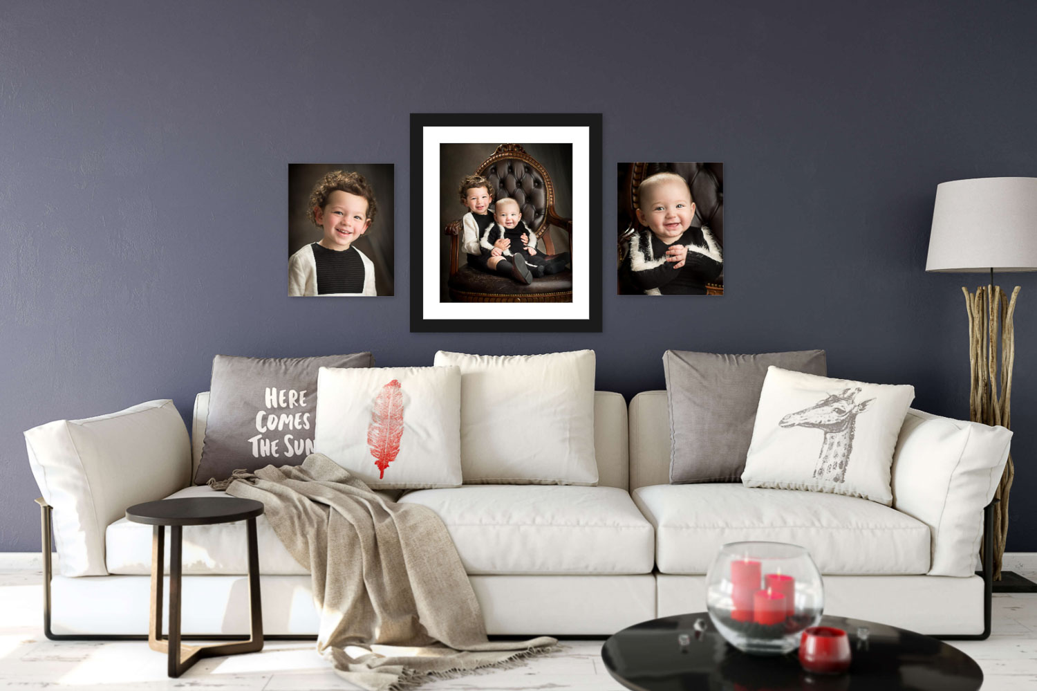 Living room photography wall art of two brothers by Picadilly Studios in Boro Park