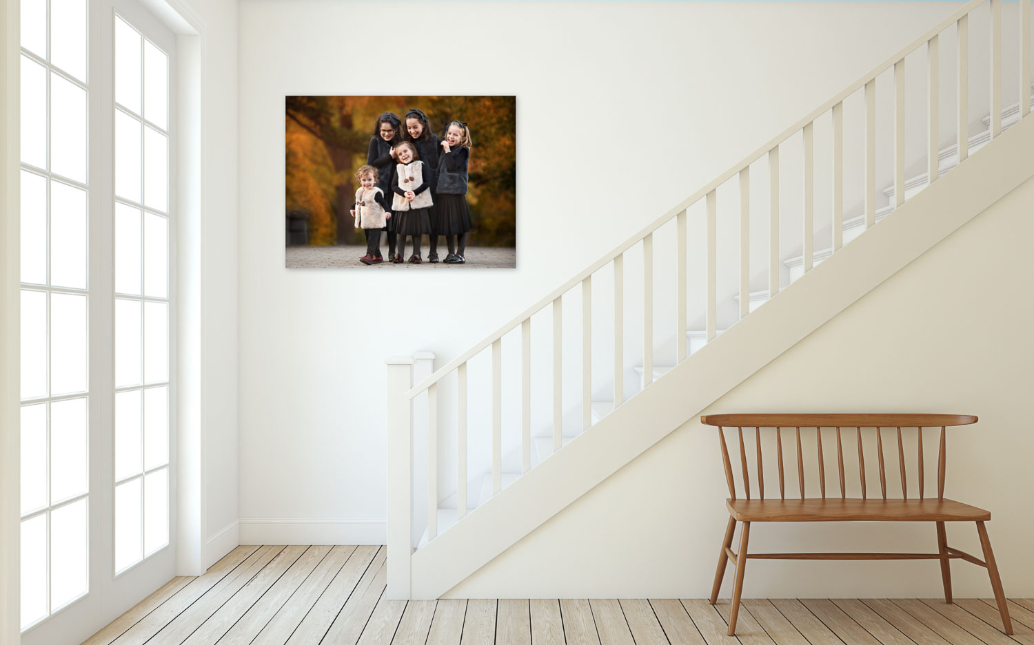 Fun family session staircase wall art in Boro Park by Picadilly Studios