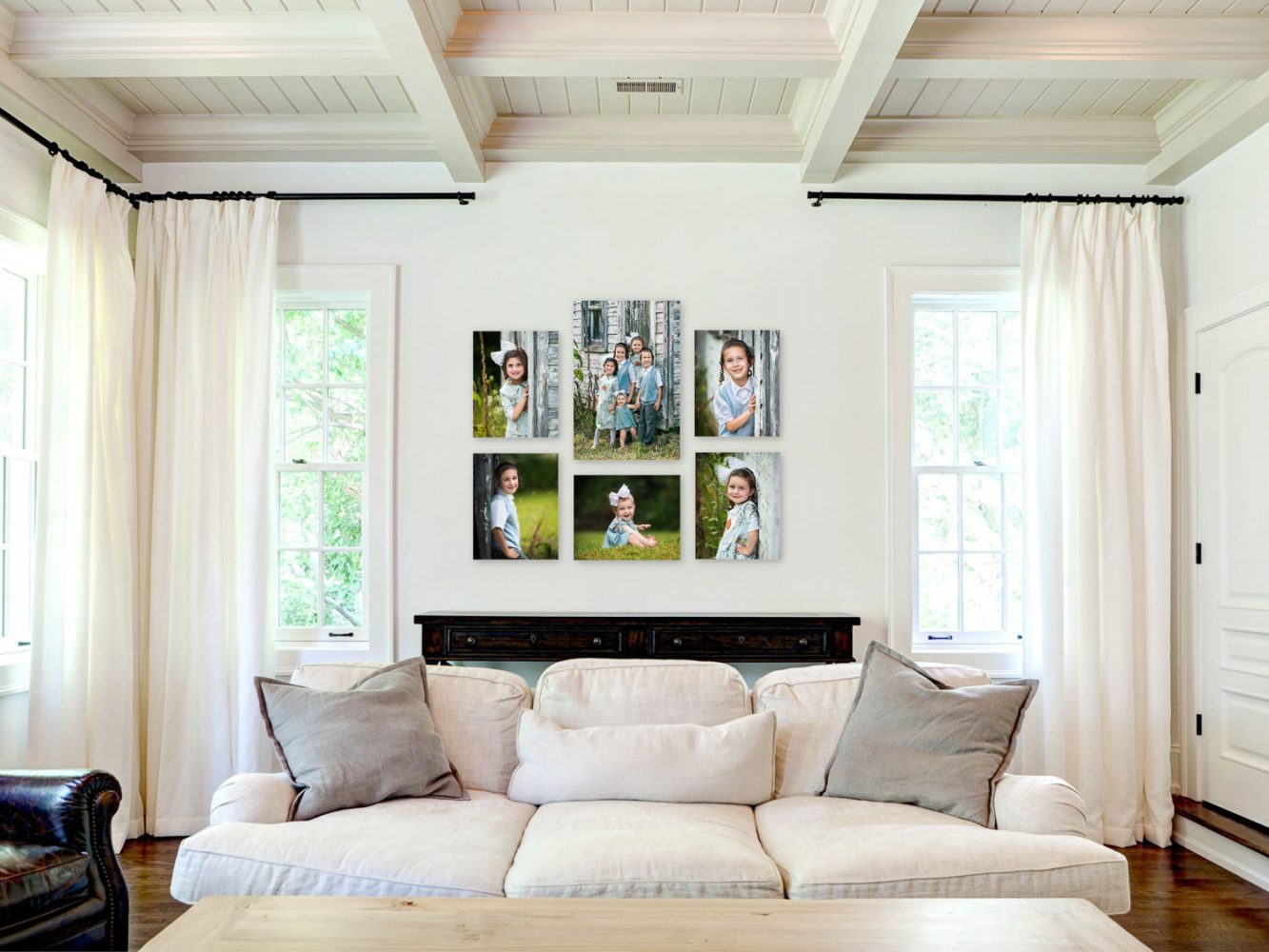 Living room wall art of outdoor family portrait session taken by Picadilly Studios of Boro Park, Brooklyn, NY.