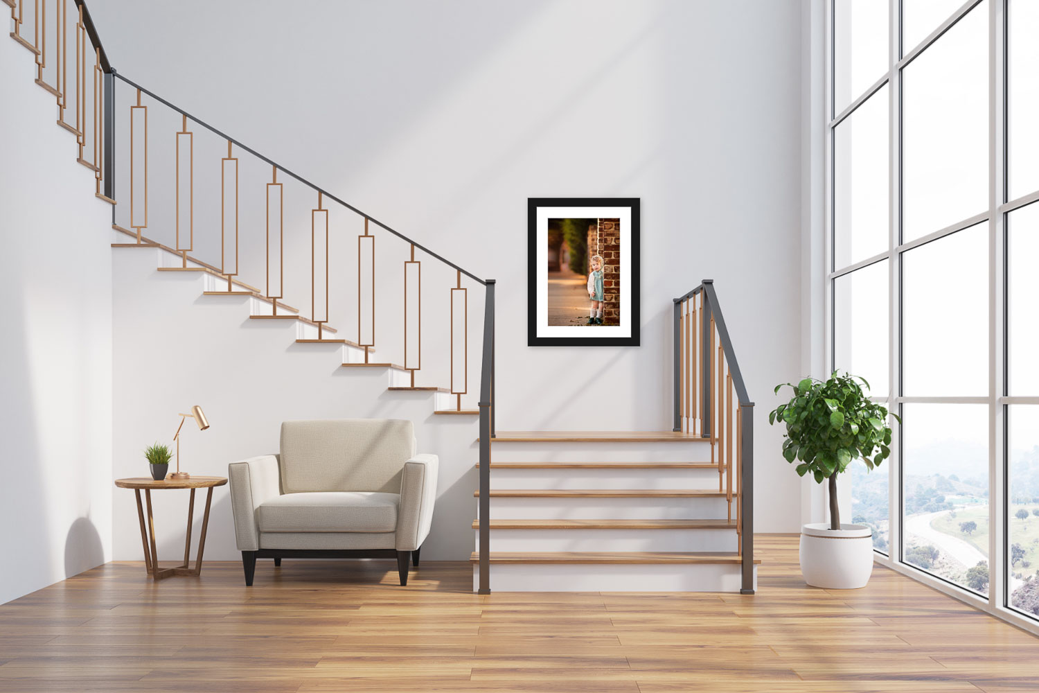 Gorgeous framed staircase wall art portrait of toddler girl taken by Picadilly Studios in Boro Park, Brooklyn, NY.